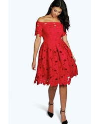 Boohoo Boutique Lisa Off Shoulder Lace Skater Dress