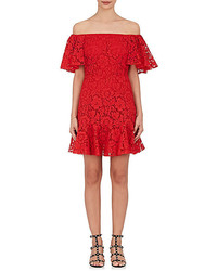 Valentino Cotton Blend Floral Lace Minidress