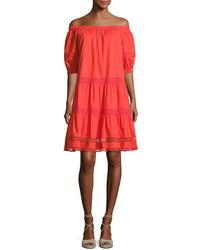 Kate Spade New York Cotton Poplin Off The Shoulder Dress