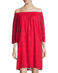 Neiman Marcus Off Shoulder Lace Dress Red