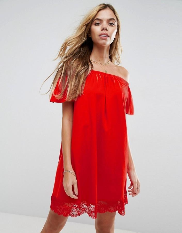 fef60559ef6 Asos Off Shoulder Mini Dress With Lace Hem, $29 | Asos | Lookastic.com
