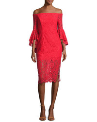 Milly Selena Off The Shoulder Lace Cocktail Dress Red