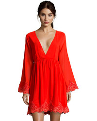 Boohoo Boutique Emily Low V Neck Lace Trim Dress
