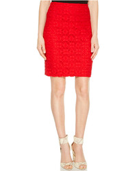 Red Lace Pencil Skirt