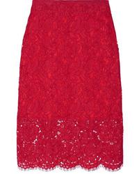 Diane von Furstenberg Glimmer Corded Lace Pencil Skirt Red