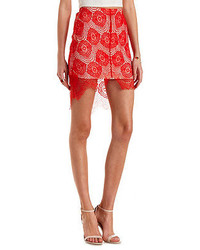 Charlotte Russe High Low Lace Pencil Skirt
