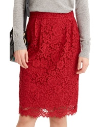 J.Crew Lace Pintuck Pencil Skirt