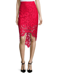 Alexis Wendy Lace High Low Pencil Skirt Red
