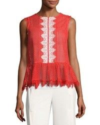 Adele sleeveless lace peplum top red medium 3680270