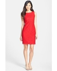 Adrianna papell boatneck lace sheath dress red 12p medium 58377