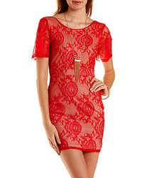 Charlotte Russe Plunging Back Bodycon Lace Dress