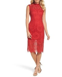 Tadashi Shoji High Neck Stripe Lace Sheath Dress