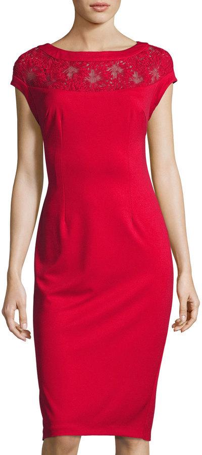 f4d6fc66 Alexia Admor Lace Yoke Sheath Dress Red, $135 | Last Call by Neiman ...