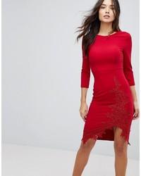 Little Mistress Long Sleeve Pencil Dress With Side Split And Applique Detail