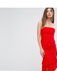 Love Triangle Bandeau Midi Dress With Double Frill
