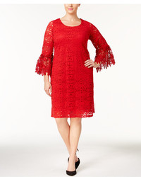 Alfani Plus Size Lace Bell Sleeve Shift Dress Created For Macys