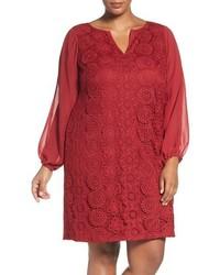 Plus size slit sleeve lace shift dress medium 1249112