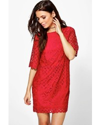 Boohoo Talia Lace Short Sleeve Shift Dress