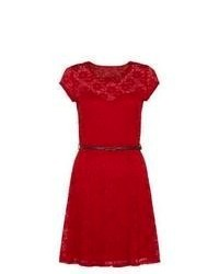 New Look Red Cap Sleeve Floral Lace Skater Dress