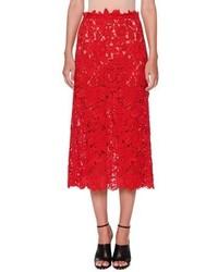 Valentino Guipure Lace A Line Midi Skirt Red