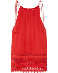 Alice + Olivia Alice Olivia Danya Lace Trimmed Crepon Camisole Red