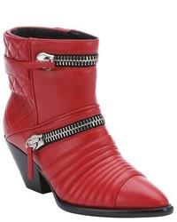Giuseppe Zanotti Fiamma Red Leather Guns 55 Zip Detail Ankle Booties