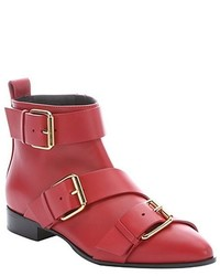 Giuseppe Zanotti Red Leather Buckle Detail Side Zip Ankle Boots