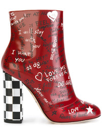 Dolce & Gabbana Red Leather Graffiti 120 Ankle Boots