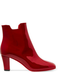 Christian Louboutin Tiagada 70 Patent Leather Ankle Boots Claret