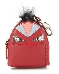 Fendi Bag Bugs Backpack Leather And Snakeskin Fur Trimmed Charm