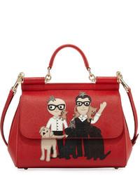 Dolce & Gabbana Sicily Medium Dg Family Patch Bag Red