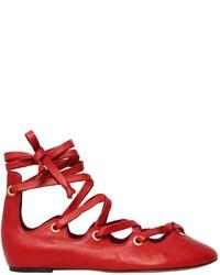 Isabel Marant 10mm Leomia Lace Up Leather Flats