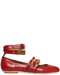 Moschino 10mm Logo Leather Ballerina Flats