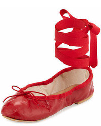 Ballet Beautiful Street Ballerina Leather Ankle Wrap Flat