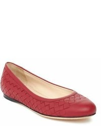Bottega Veneta Intrecciato Leather Ballerina Flat Shoes Red