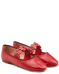 RED Valentino Leather Ballerinas With Stud Embellisht