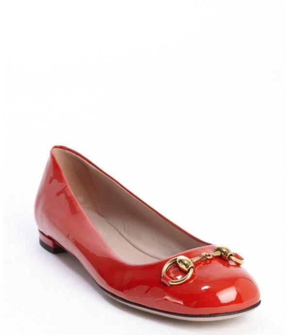 dedb211e9 Gucci Red Patent Leather Jolene Ballet Flats, $530 | Bluefly ...