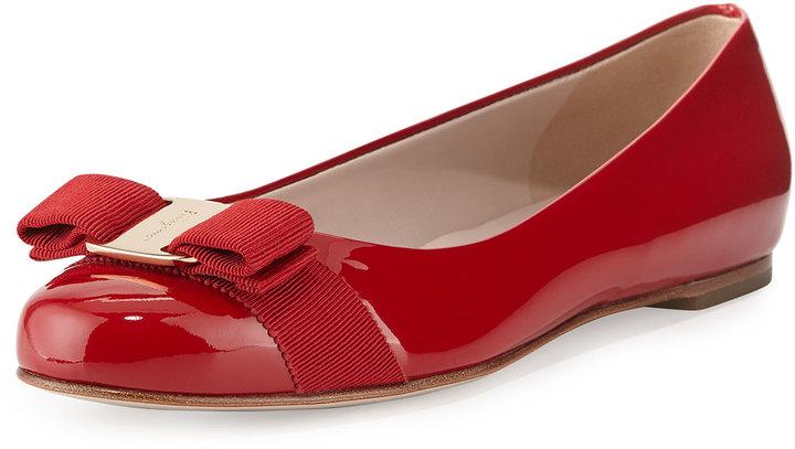 7b0590a0218f5 ... Salvatore Ferragamo Varina Patent Bow Ballerina Flat Rosso ...