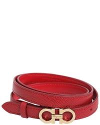 Salvatore Ferragamo 15mm Embossed Leather Belt