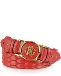 Roberto Cavalli Dark Red Python Printed Leather Signature Belt