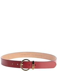 Fendi Deep Red Leather Logo Buckle Detail Classic Belt
