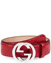 Interlocking g buckle leather belt medium 700153