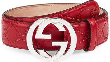 8cd229bda1bf5 ... Red Leather Belts Gucci Interlocking G Buckle Leather Belt ...