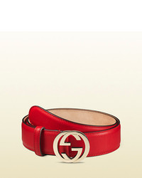 ... Gucci Leather Belt With Interlocking G Buckle 08aae3002c3