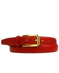 Luxury Divas Red Thin Leather Belt Wclassic Matte Gold Buckle