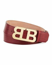 Bally Mirror B Stamped Leather Belt Red