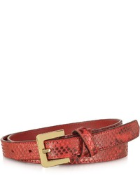 Forzieri Red Python Leather Skinny Belt