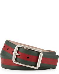 eae0c31ee0d ... Gucci Signature Web Leather Belt Greenredgreen