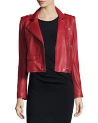 IRO Ashville Leather Moto Jacket Red