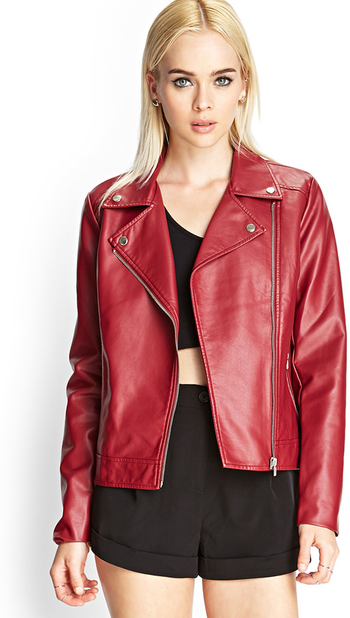 8babc723a78d ... Red Leather Biker Jackets Forever 21 Faux Leather Moto Jacket ...